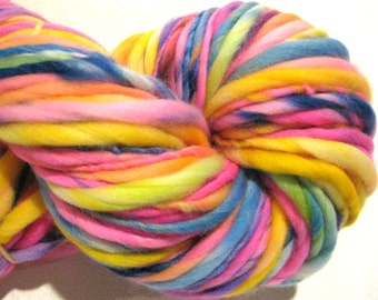 Handspun Yarn, All In, 120 yards, hand dyed merino wool, pink, blue, yellow, rainbow, waldorf doll hair, knitting supplies, crochet supplies