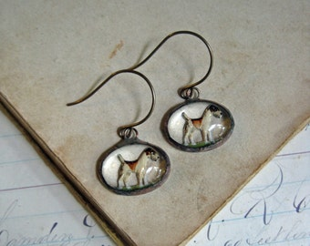 Reverse Painted Dog Glass Earrings Repurposed Jewelry