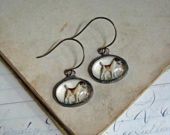 Reverse Painted Dog Glass Earrings Repurposed Jewelry