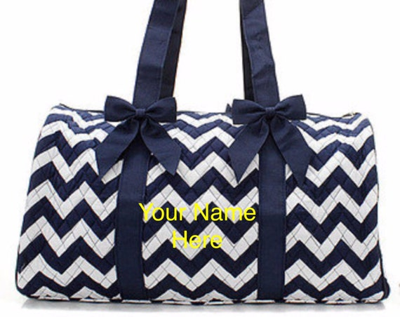 Duffle Bag Navy Chevron Quilted with Personalized Embroidery