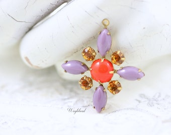 Lavender, Opaque Red & Topaz Swarovski Starburst Pendant with Vintage Stones in Brass Setting 30mm - S11