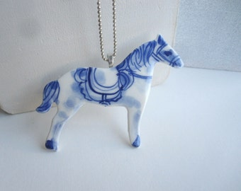 Horse - Handpainted Porcelain Pendant Necklace
