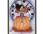 Hand Accented Halloween Fairy Witch PRINT 5x7 matted 8x10 by Amy Brown