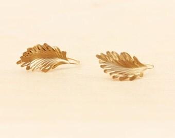 10K Gold Leaf Earrings