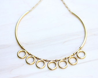 Gold Circles Collar Necklace