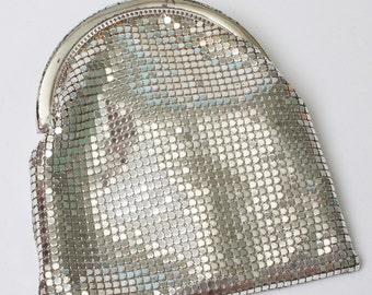 Art Deco Silver Mesh Handbag Wristlet Whiting and Davis
