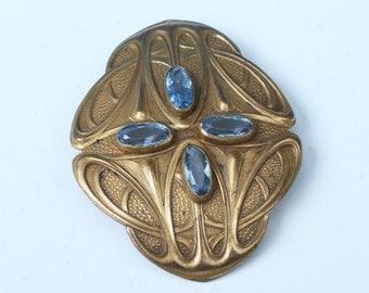 Art Nouveau Blue Glass Stone Sash Pin Brooch Gold Tone