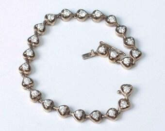 Vermeil Sterling Silver Heart Link Bracelet with Crystals Vintage Bracelet