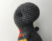 Crochet Rainbow Plush Dinosaur Toy- Charcoal Gray Gift For Kids Amigurumi T-Rex Plushie Dinosaur Gift For Teens Stuffed Animal T-Rex Toy