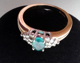 Ring - Vintage 9ct Gold, Emerald and Diamond Ring, size O 1/2 (UK) 7.25 (USA)