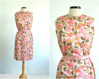 60s Floral Dress / Preppy Party Dress / Floral Print / Pink Floral / Vintage Dress / Wiggle Dress - large