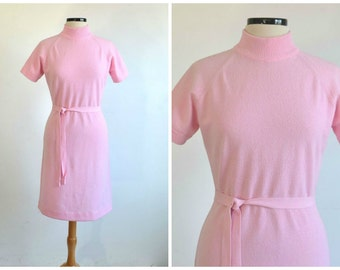 60s Textured Knit Dress Talbott Traveler Pink Shift Wiggle Dress medium to large