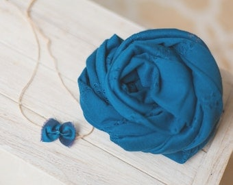 Teal Blue Stretchy Wrap and Silk Ribbon Tieback Headband Set - newborn baby photo prop