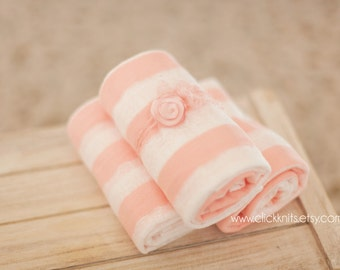 Pink and White Striped Stretchy Wrap and Delicate Flower Tieback Set - newborn baby photo prop