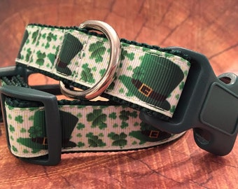 St. Patrick's Day Leprechaun Hat Dog Collar, In M, L, XL  Metal or Plastic Side Release Buckle