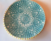 Reserved for Jesse | Made to Order Turquoise and yellow plate | Textured Clay plate | Handbuilt plate | Decorative Plate