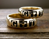 Romeo and Juliet Wedding Bands in 14K Yellow Gold with Hand Engraving and Glossy Finish Sizes 11 & 5
