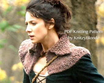 Outlander PDF Knitting Pattern Claire's Hunt Capelet, Cape, Shoulder Wrap, Knitting Pattern Only