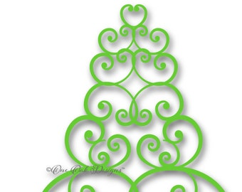 Swirly Tree SVG File Christmas Tree PDF / dxf / jpg / png / eps / ai / SVG File for Cameo, for Cricut & other electronic cutters