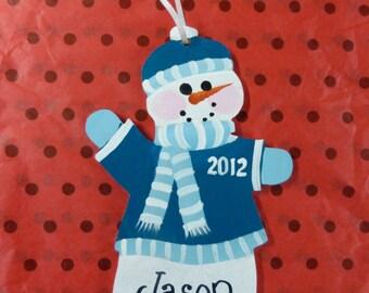 Snowman Ornament  Wooden Christmas Ornament  Personalized Snowman