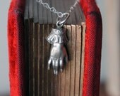 Solid Silver Antique Ladies Cuffed Hand Pendant Necklace