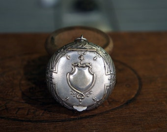 Antique French Late 19th Century Silver Plated Powder Compact