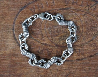 Rêver de Cygnes - 'Dream of Swans' - Solid Silver Artisan Bracelet Antique Style with Georgian Swan Links