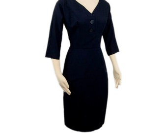 1950s By Debonaire Boston Midnight Blue Cocktail Wiggle A-Line Vintage Knee Length Dress