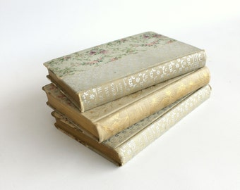 Antique Victorian Floral Book Collection Decorative Set Cottage Room Bookcase Decor Instant Library