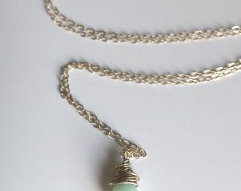 Amazonite Faceted Gemstone and Sterling Silver Pendant Necklace