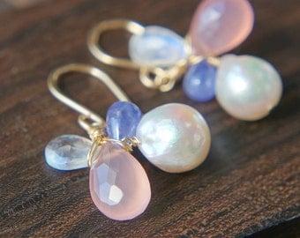 Akoya Pearl Dangle Earrings, Pink Chalcedony Tanzanite Earrings, Multi Gemstone Earrings, Gift for her