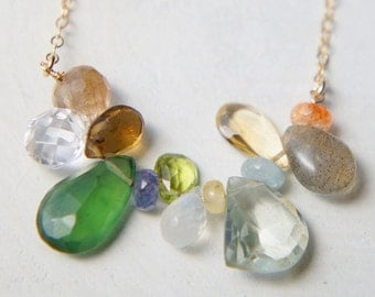 Semi Precious Stone Necklace, Wire Beaded Bib Necklace, Gift for Mom, Gemstones Necklace, Green Amethyst