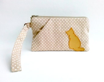 iPhone 6s Plus wristlet clutch purse wallet polka dot zipper pouch with cat beige colour Christmas gift for her for mom for girlfriend - Cat