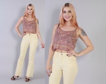 Vintage 70s LEVI's CORDS / 1970s Pale Yellow High Waist Bell Bottom Corduroys XS