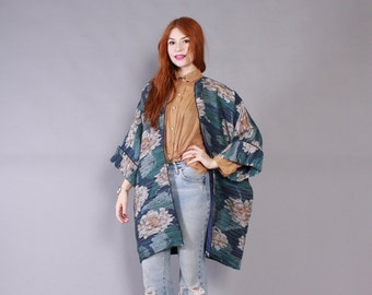 Vintage 90s JACKET / 1990s Rare Hand Woven TRUDIE ROBERTS Draped California Rags Floral Cocoon Coat