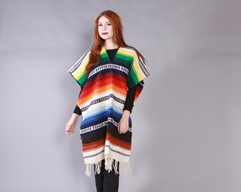 Vintage Blanket PONCHO / Bright Striped Mexican Blanket Fringed Long Cape Jacket
