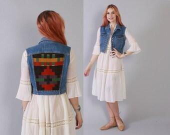 Vintage 80s DENIM VEST / 1980s Cropped SW Blanket Back Blue Jean Boho Festival Jacket