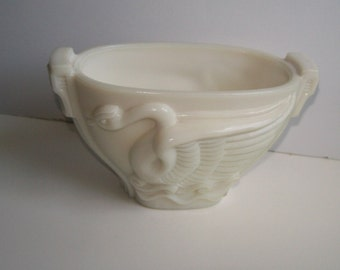 Art Deco Milk Glass Swan Bowl Macbeth-Evans