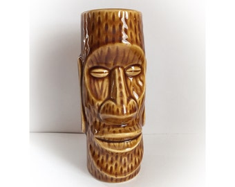Vintage Brown Ceramic Tiki Mug Japan