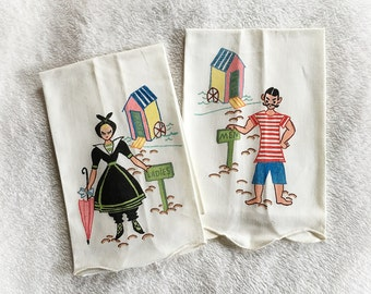 Vintage Ladies and Men Beach Time Kitchen Hand Towels