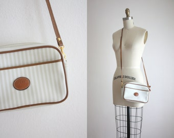 leather stripe shoulder bag