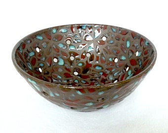 Turquoise and Red Speckled Floral Berry Bowl