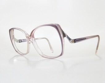 POP SALE Vintage 1980s Oversized Eyeglasses Art Craft USA American 80s Eighties Clear Dusty Blue Grey Ladies Womens Indie Hipster Avant Gard