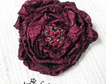 Dark Burgundy Fabric Flower Brooch - Flower Pin - Hat Decoration - Burgundy Flower Pin