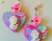 Let Them Eat Cake Earrings - Pastel Jewelry - Marie Antoinette Jewelry - Cameo Earrings - Cameo Jewelry - Heart Earrings - Sweet Lolita