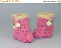 HALF PRICE SALE Knitting Pattern Pdf Digital File Download-Baby Fur Trim One Button booties (Boots) knitting pattern-
