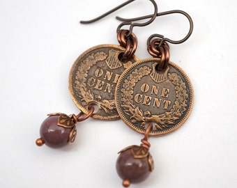 Lavender coin earrings, copper and mookaite beads, Indian head pennies & semiprecious stones
