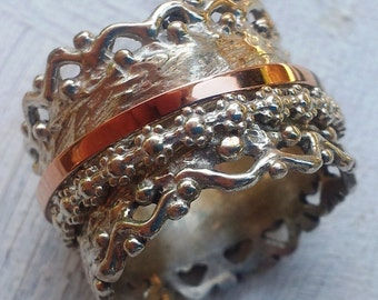 Meditation Floral Lace Ring. Spinner ring. Bague tube argent or gold 9 carat. Romantic Spinner Rings for woman.
