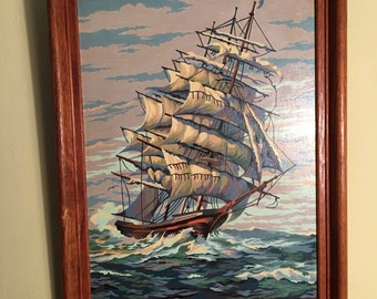 Vintage SHIP AT SEA Paint by Number Framed Painting Picture Nautical Boat