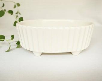 Vintage Hull Planter . Antique White Flower Pot . Indoor Gardening . Garden Decor . Cream Ivory .